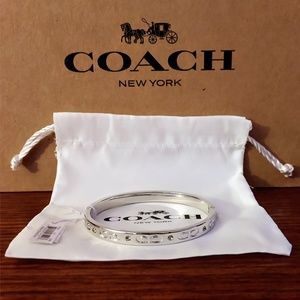 "Silver Coach Kissing ""C"" Bangle Bracelet"